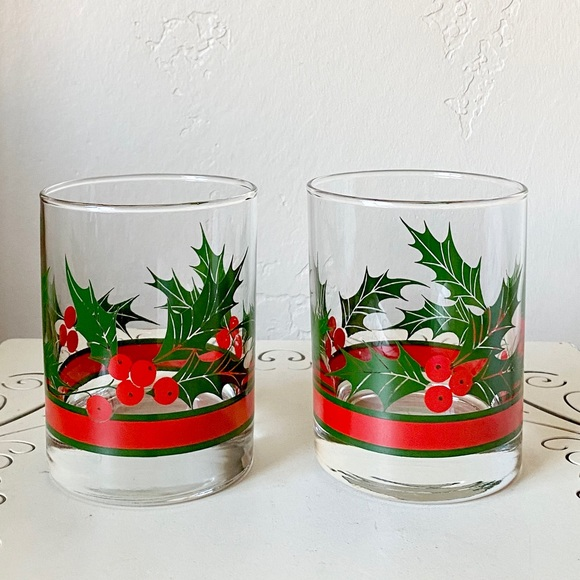 Pair of festive Christmas holiday glasses